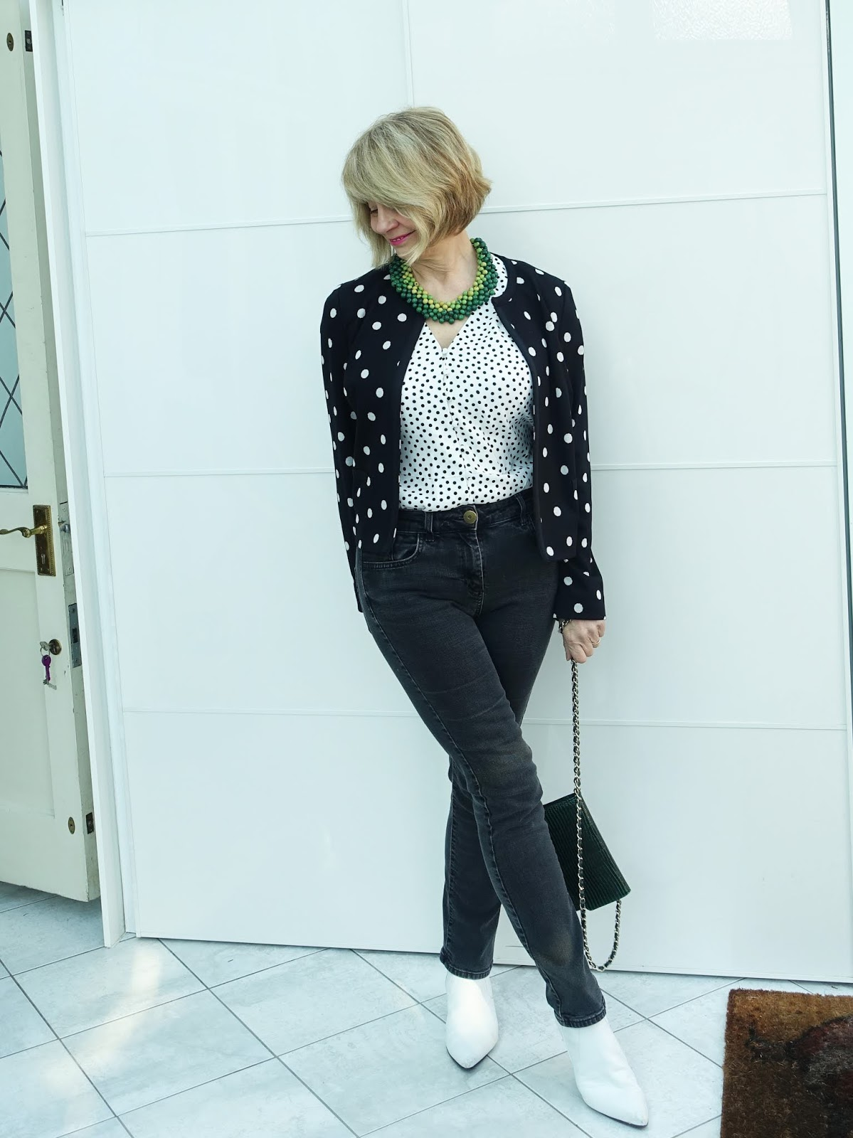 Top of the World Style Winner Gail in double polka dots and jeans