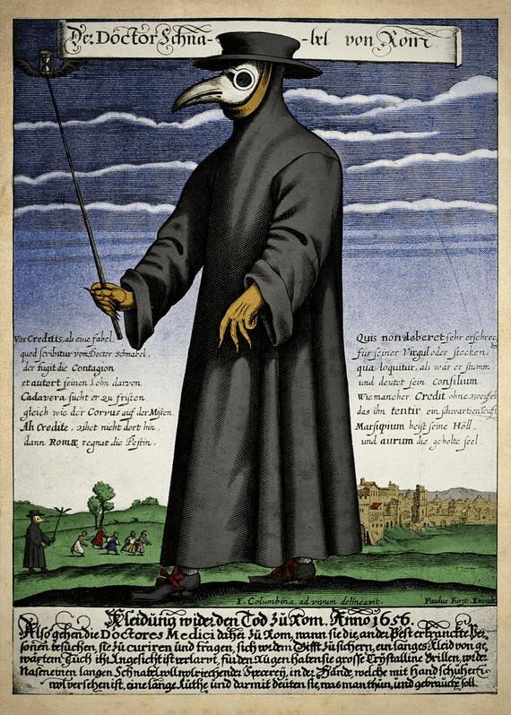 copper engraving of plague doctor attire ca. 1656