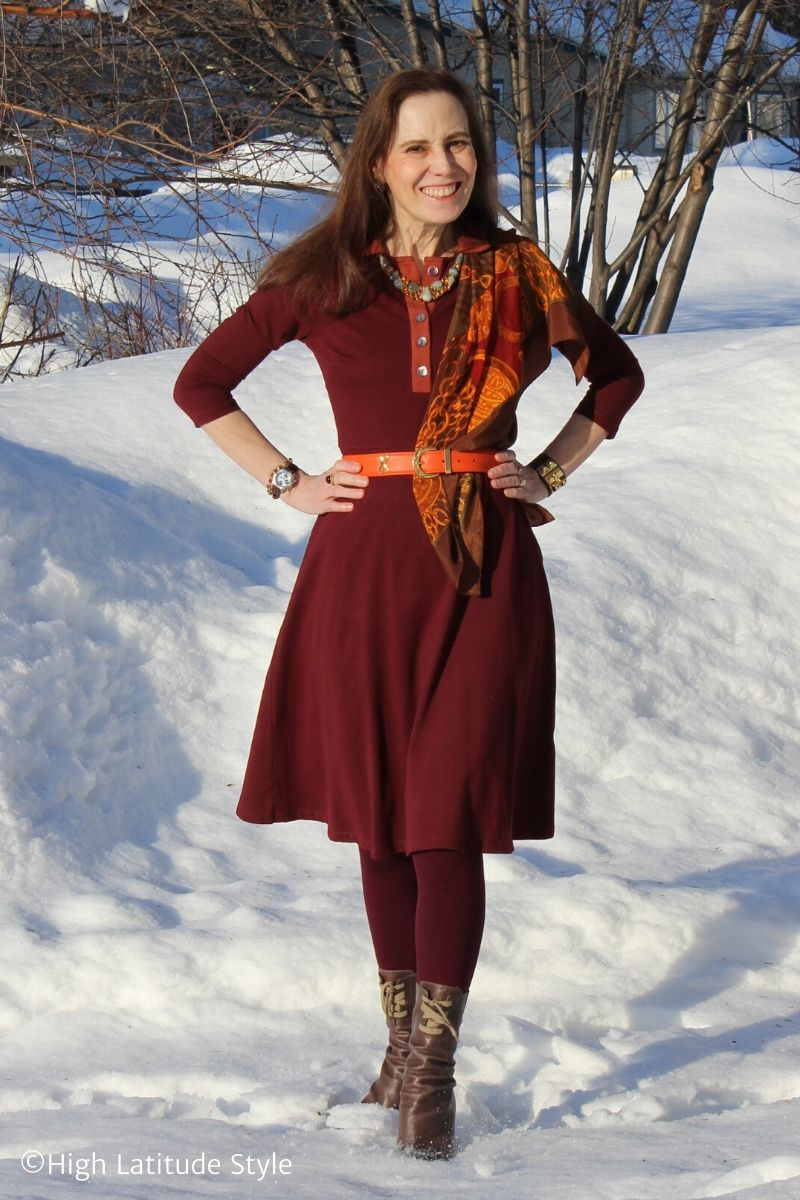 over 50 years old fashion blogger in office dress, flanel tights, laceup booties