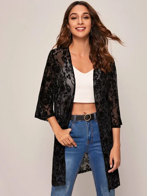 woman in jeans, white cropped top with sheer black lace yukata