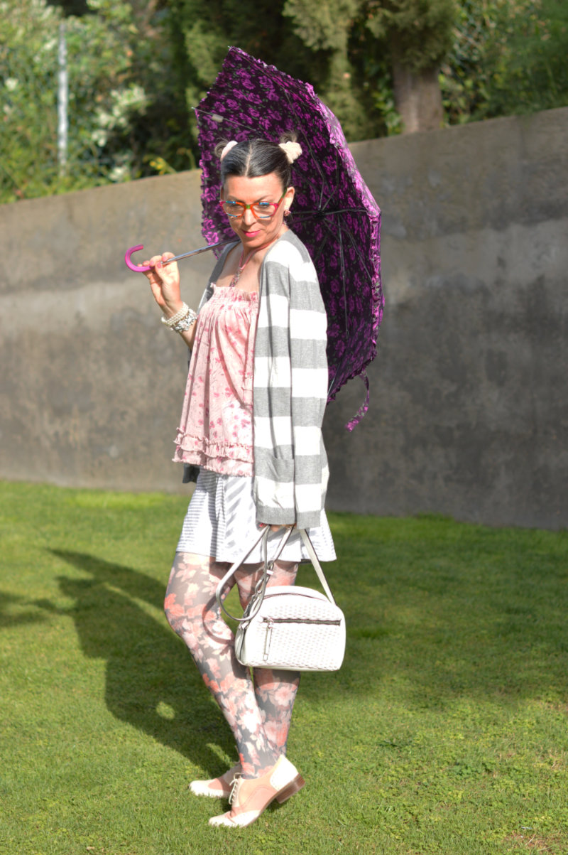 Suzy Turner featuring Harajuku style in pastels with purple floral print umbrella