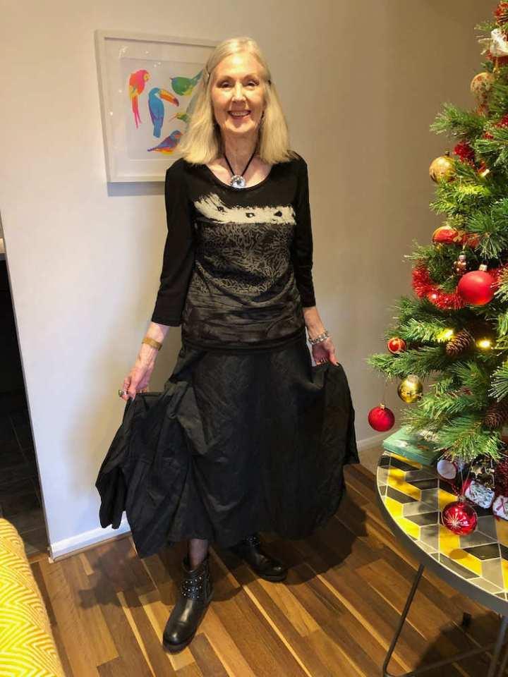 Penny Kocher in wide black skirt as style winner