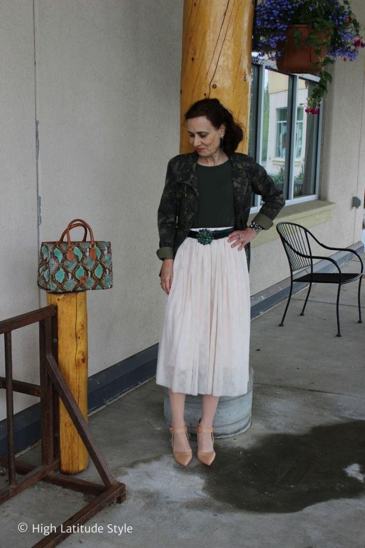 Nicole Mölders in camouflage safari coat with mesh skirt