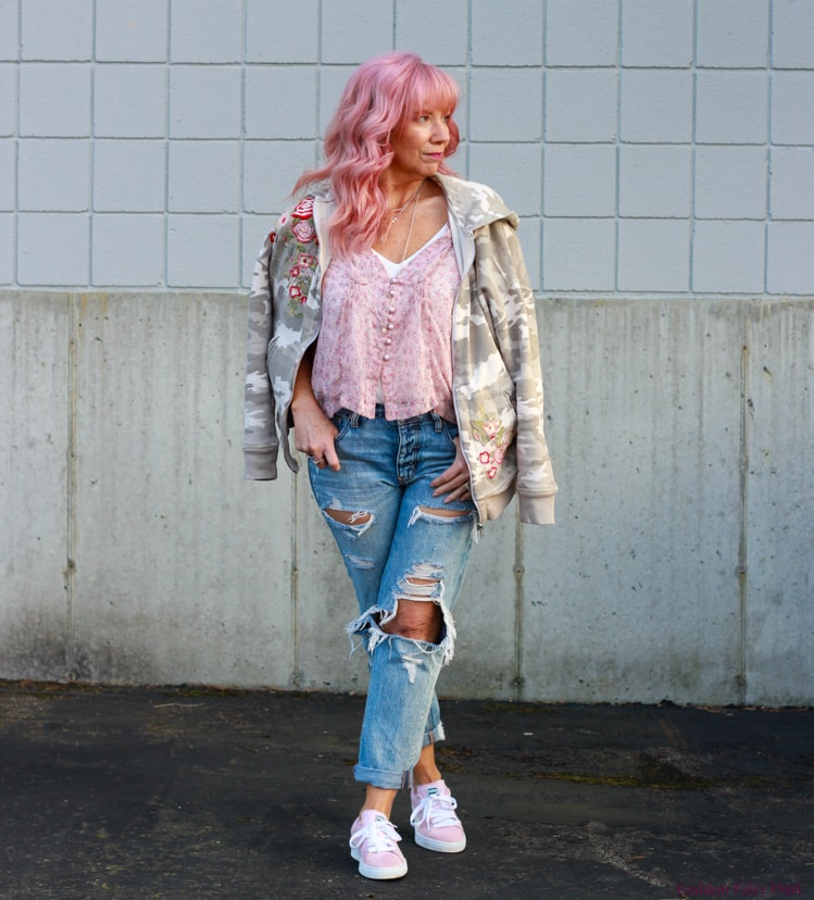 My fav Debbie in pink floral shirt, camo hoodie, distressed jeans, pink sneakers