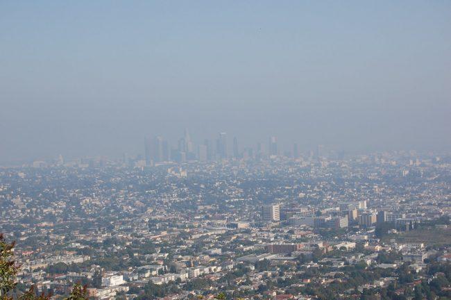 haze from trace gases, aerosols over LA