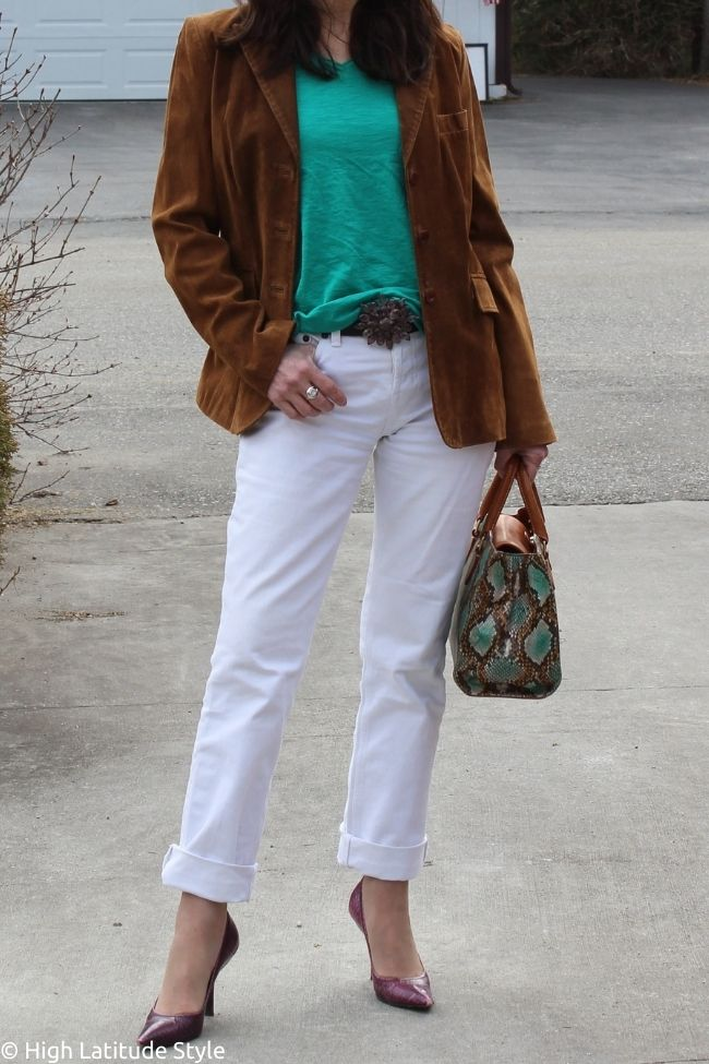 American West style outfit with suede blazer jeans shirt