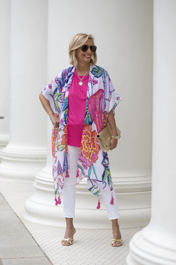 Nora of Jacket Society in kimono, white pants and pink top