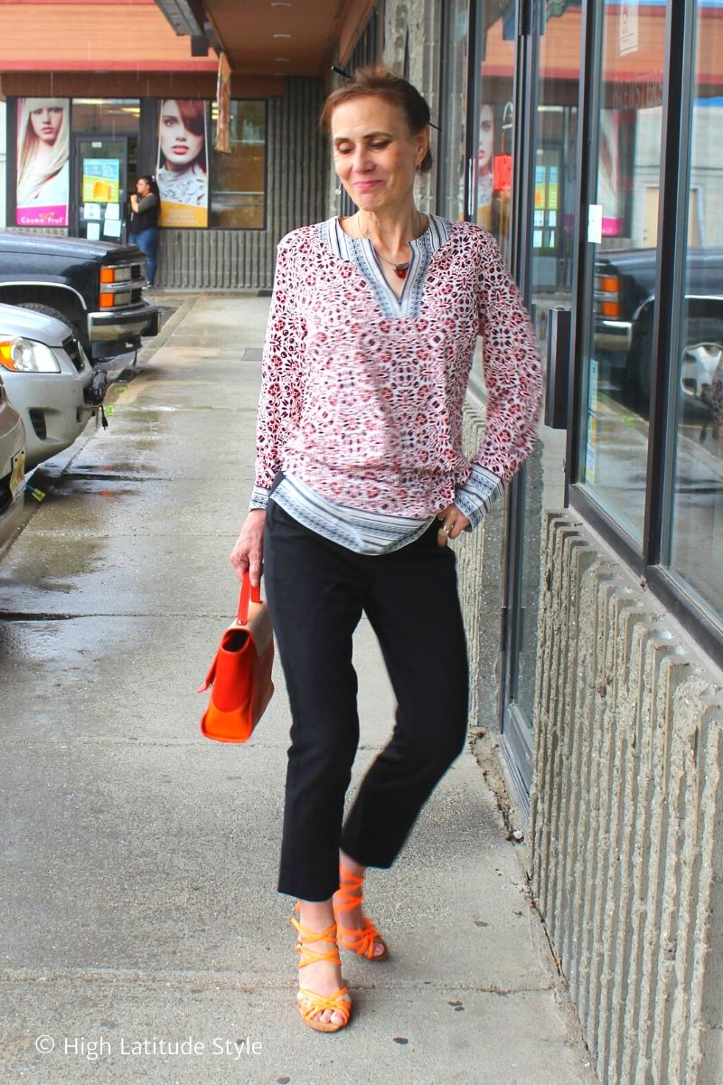 Casual Friday look with cropped pants, orange sandals, and tunic