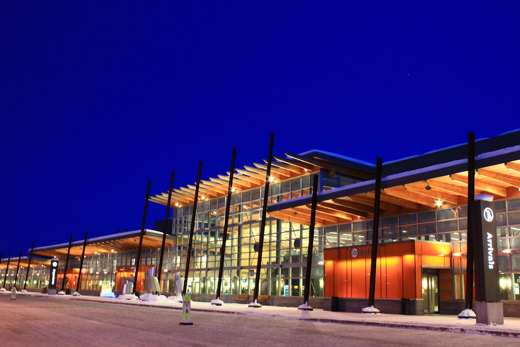 front view of Fairbanks airport in winter in the dark