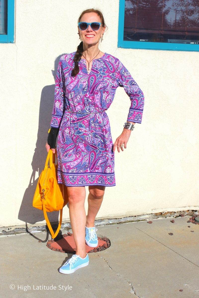 over 50 years old blogger in paisley print tunic dress
