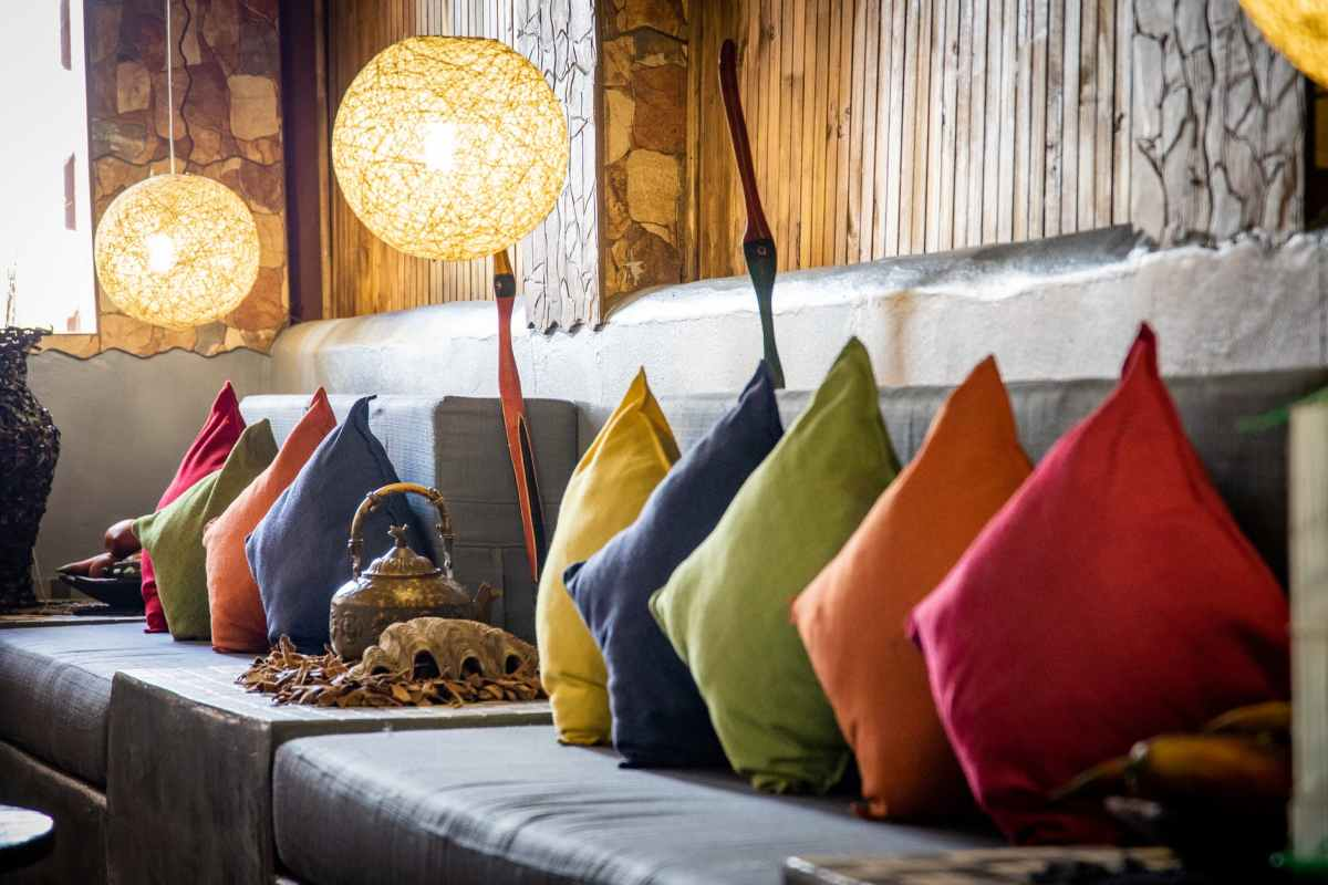 pillows in all colors of the rainbow as home decor