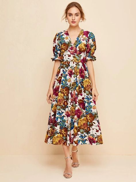 Ruffle Cuff Puff Sleeve Allover Floral Print Dress