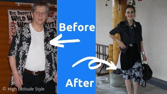 Before after graphic showing old shirt that became part of a skirt