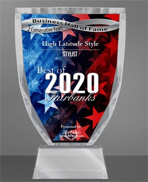business hall of fame award 2020 best of Fairbanks stylists display