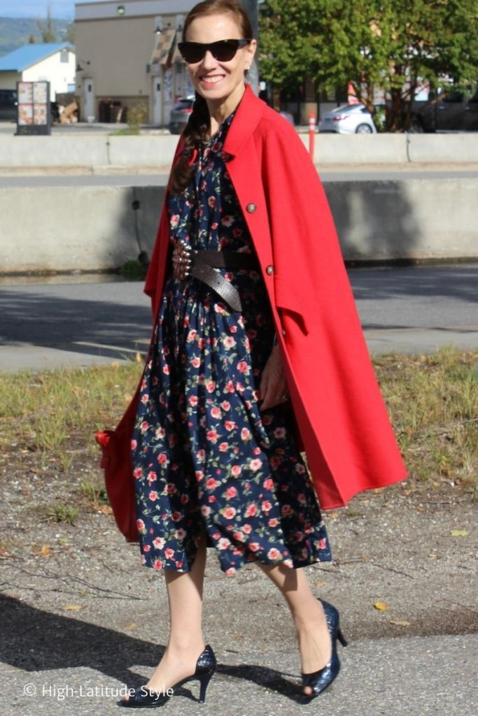 stylist in shirt dress, red coat