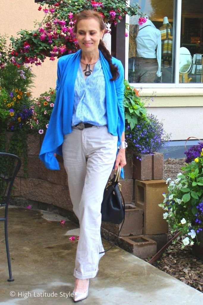 over 50 years old blogger in pants, cardigan, blouse