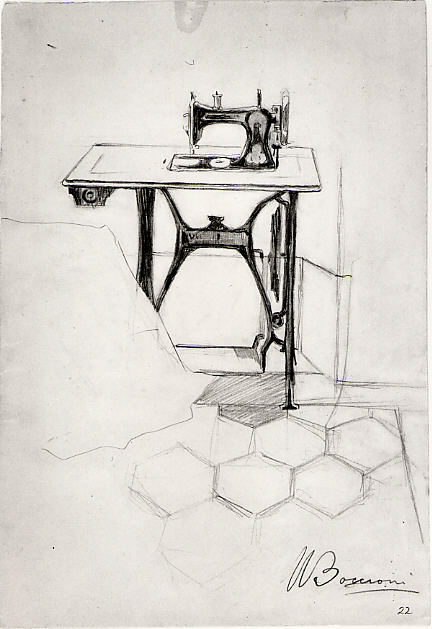 sketch of 1909 sewing machine with foot pedal