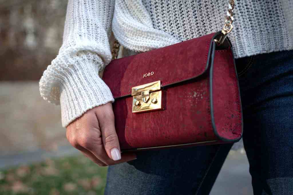 red and gold vegan leather designer crossbody bag