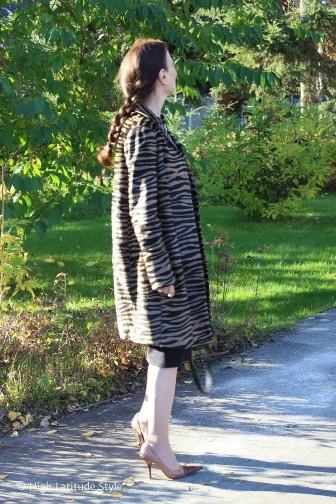 side view fall outfit with brown black zebra print coat