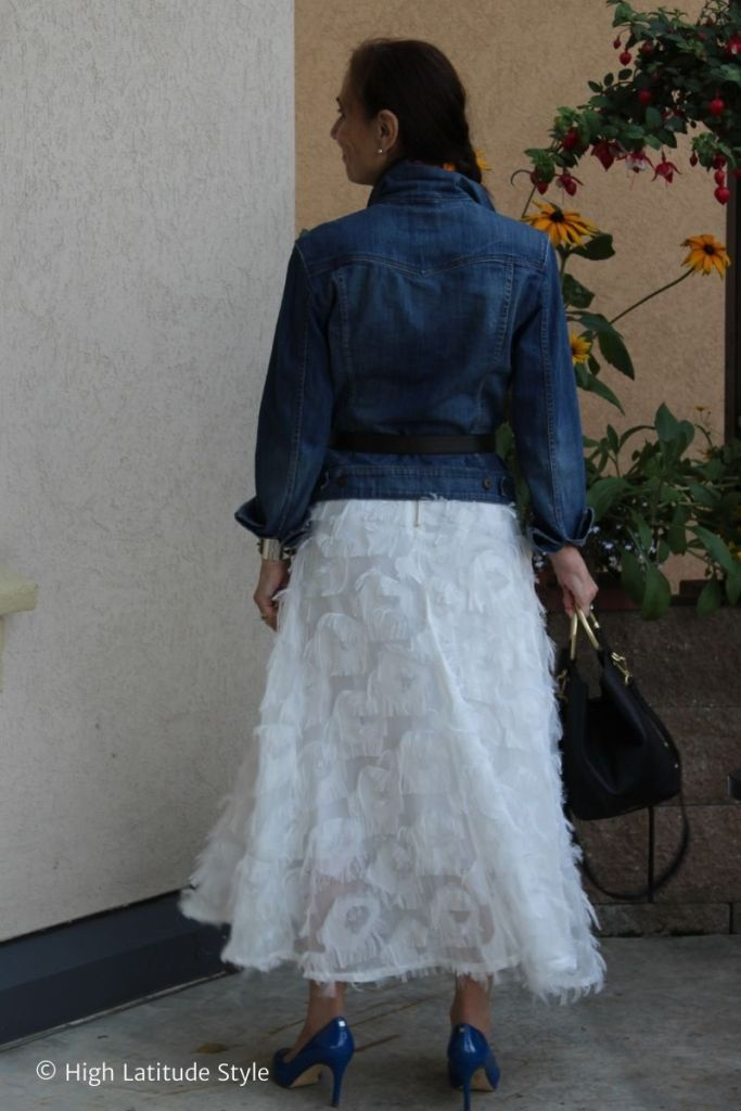 back view of A-line feather skirt