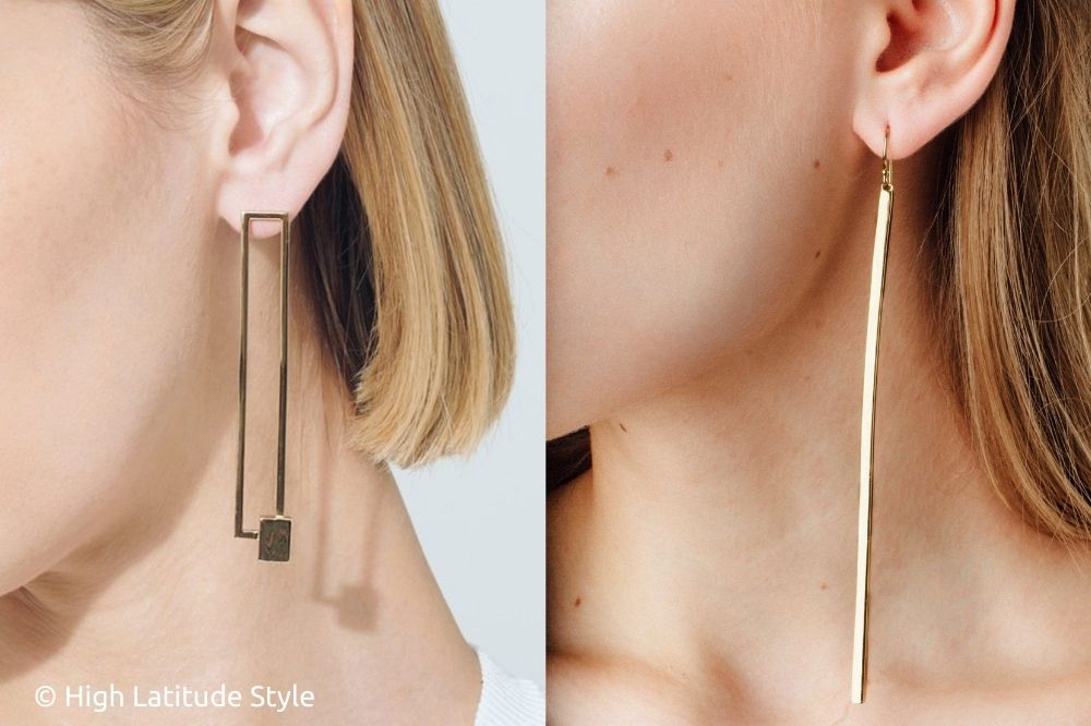 aurate rectangular and gold bar ear hangers