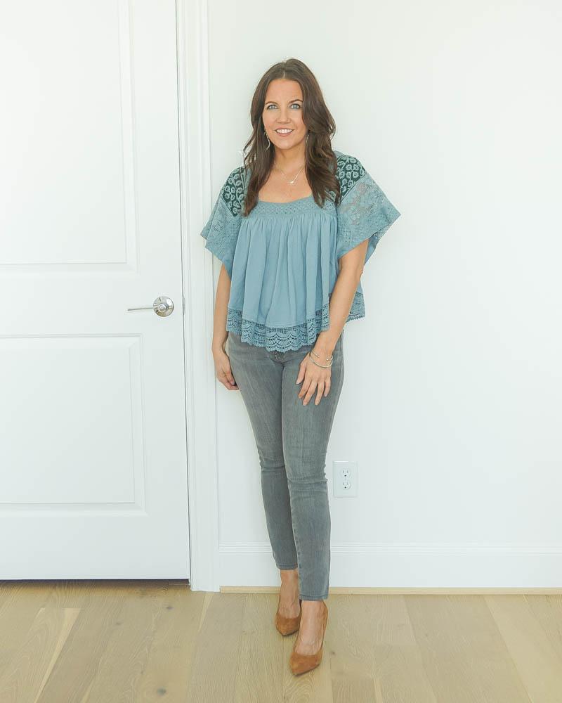 Karen from Lady in Violet in blue top, gray skinnies, brown pumps