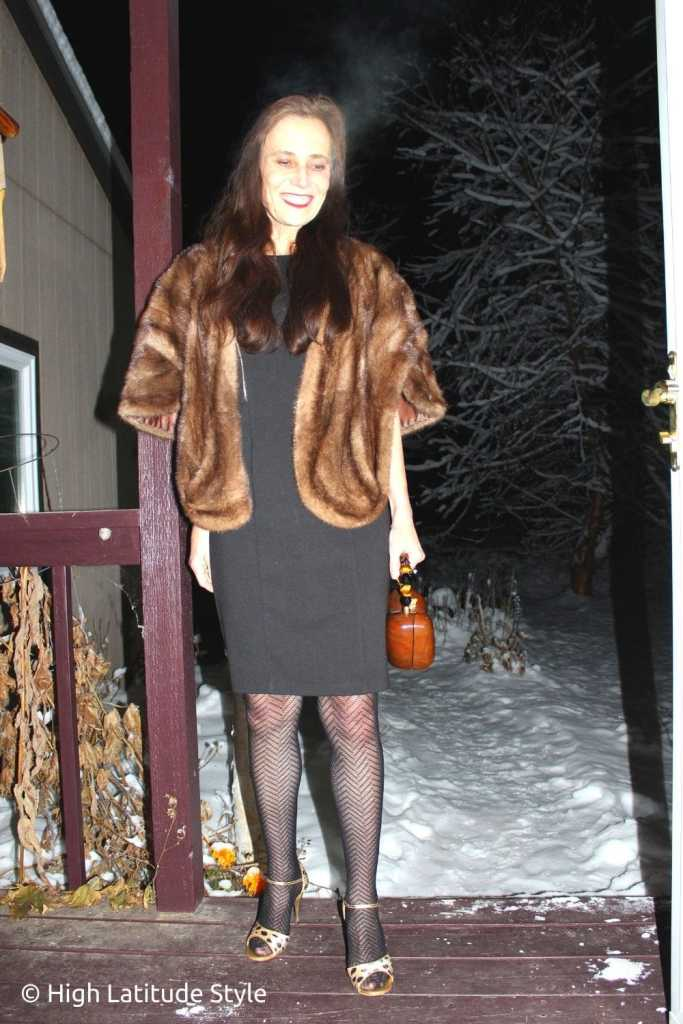 fashion blogger in tigh highs, sheath dress, thrifted cover-up, 4 inch sandals, wood bag