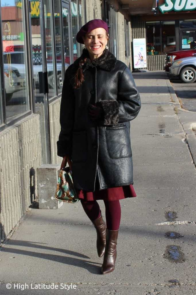 shearling coat over fit-and-flare