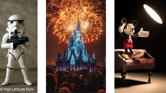 3 famous Disney movies Star Wars, Cinderella, Mickey Mouse