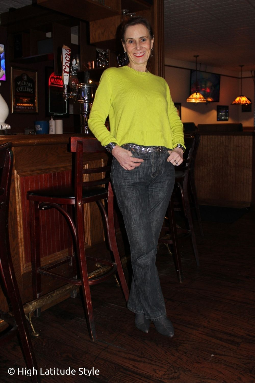 stylist in Italian jeans Italic sweater in lemon