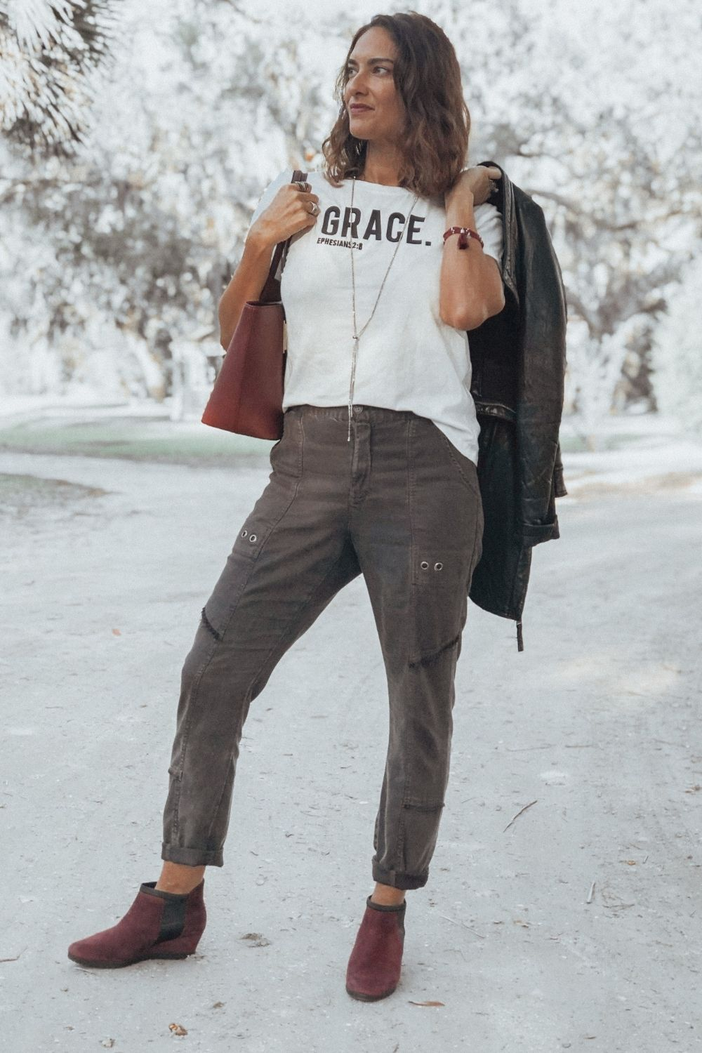 Chrissy of granola and grace in all neutral look