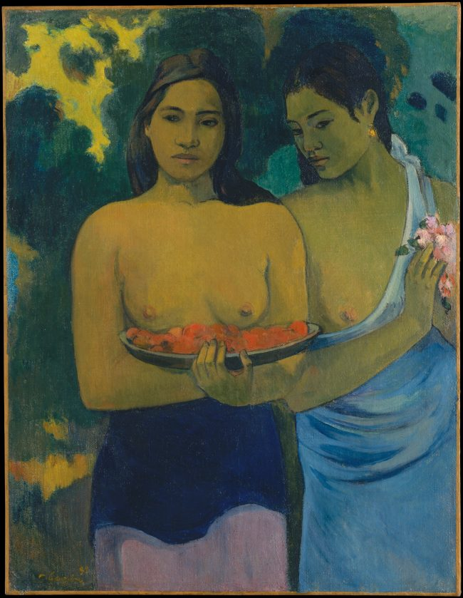 indigenous woman wearing only bottoms in a painting by Paul Gaugin