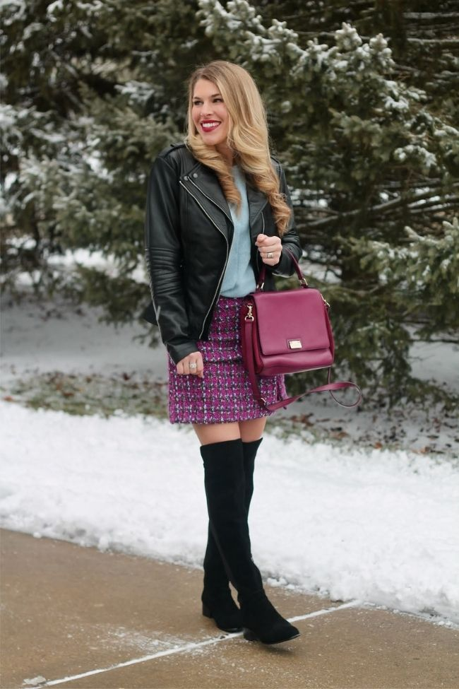 Laura in mini tweed skirt, leather jacket, otk boots,tee