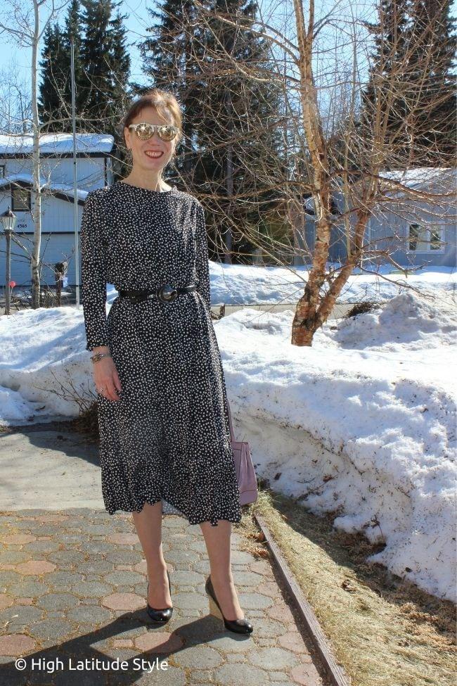 stylist in ruffle hem midi summer dress