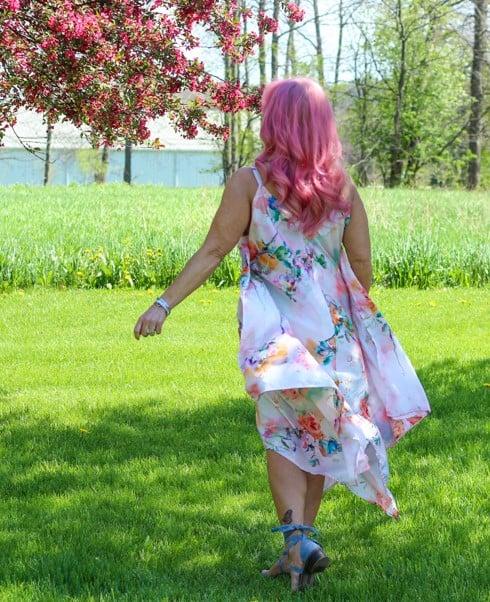 Debbie in hankerchief abstract floral print dress
