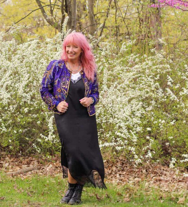 Debbie in silk slip dress with sequin denim jacket