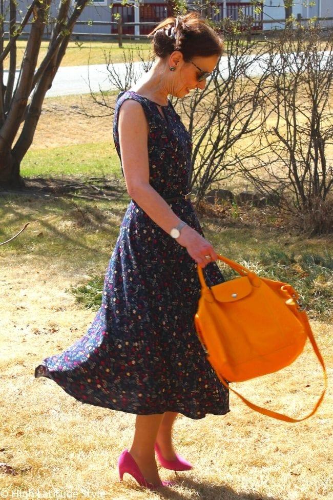stylist twirling in a summer dress