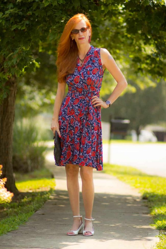 Jess from Elegantly Dressed and Stylish in a pretty patriot fit-and-flare dress