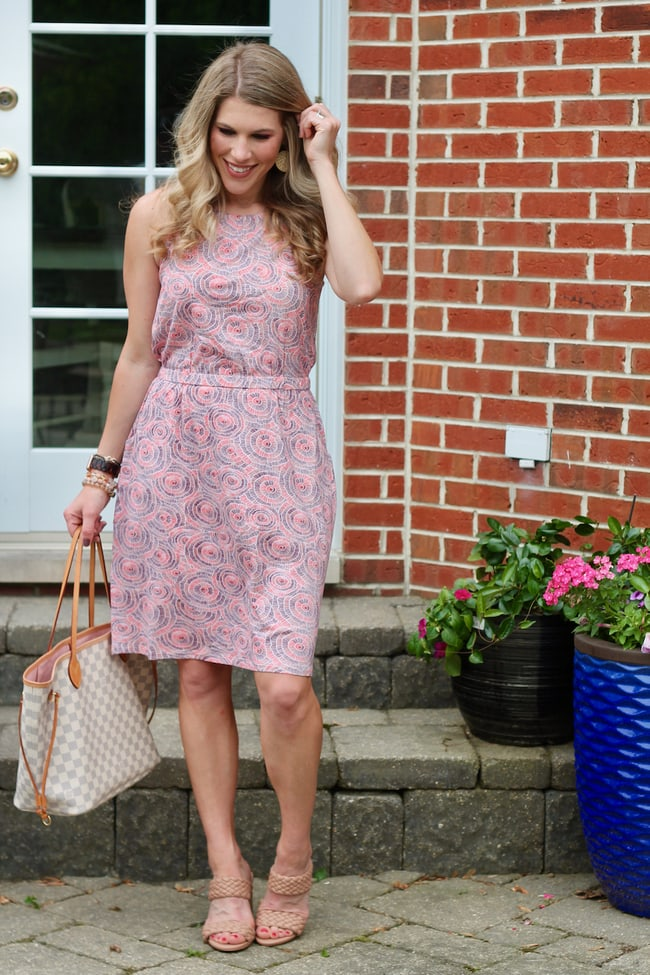 Laura from I Do deClaire in a pink lace sheath