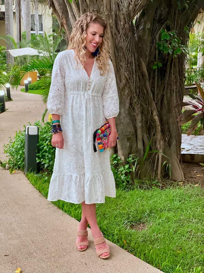 Laura in romantic little white dress