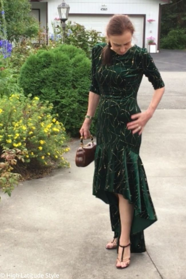 midlife woman in an affordable special event dress