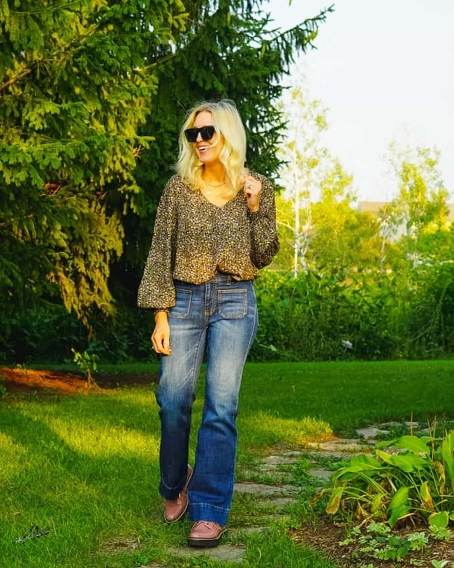 Jill in early fall outfit with jean and blouse