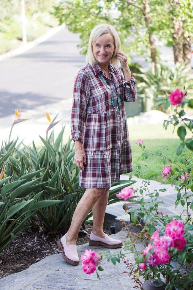 Darlene in plaid fall tiered dress
