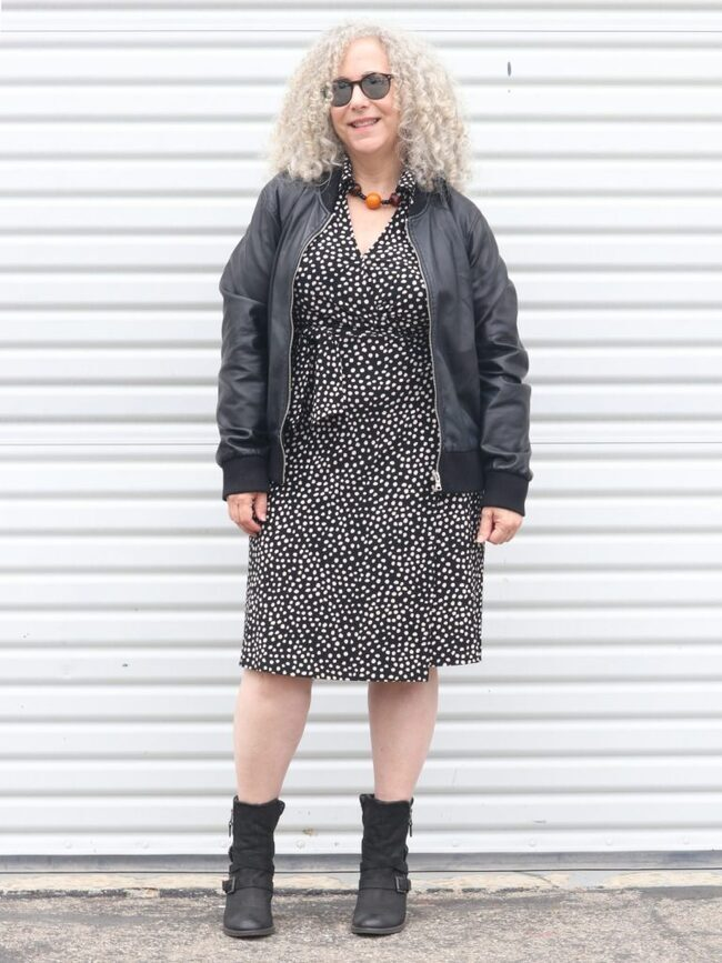 Rena as Top of the World OOTD readers Fav in leopard print dress with booties and leather jacket