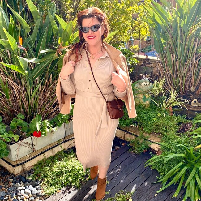 Donna in sand henley-style knit dress and jacket fall outfit