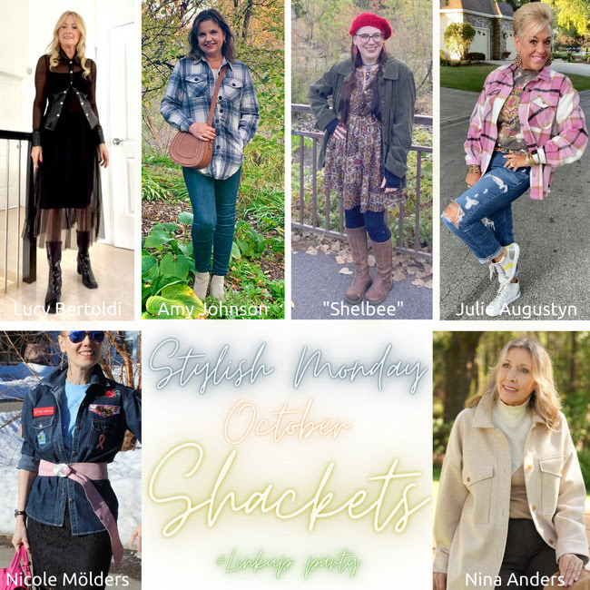 Stylish Monday October Shackets party logo showing bloggers featuring the overshirt trend
