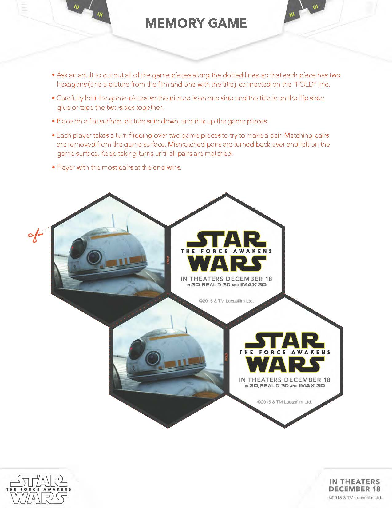 Star Wars The Force Awakens Activity Sheets