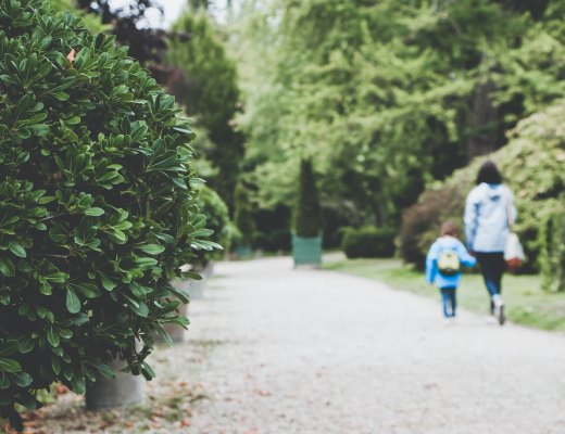 a mom walks with her highly sensitive child