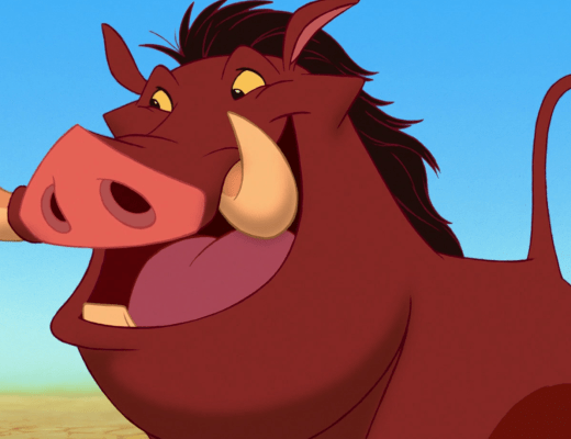The character Pumbaa, a cartoon warthog from the Disney movie The Lion King, smiling.