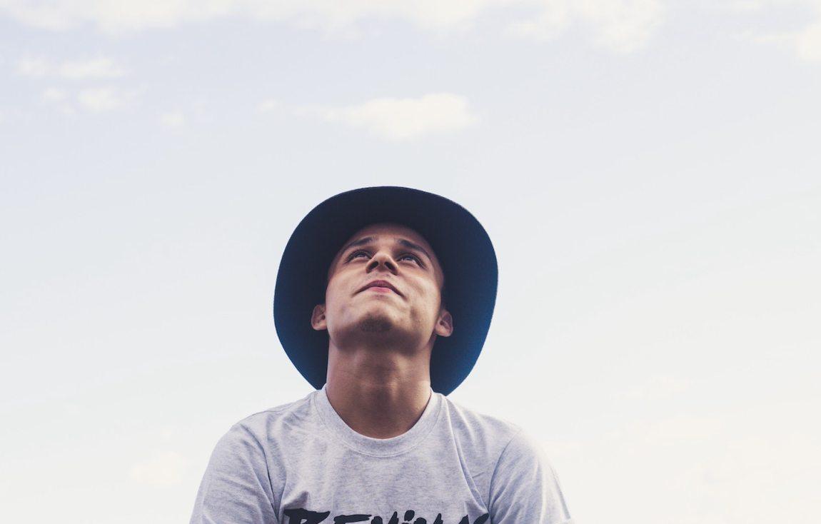 A sensitive man looking up